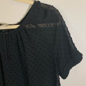 J.CREW • Embroidered black polka dots blouse